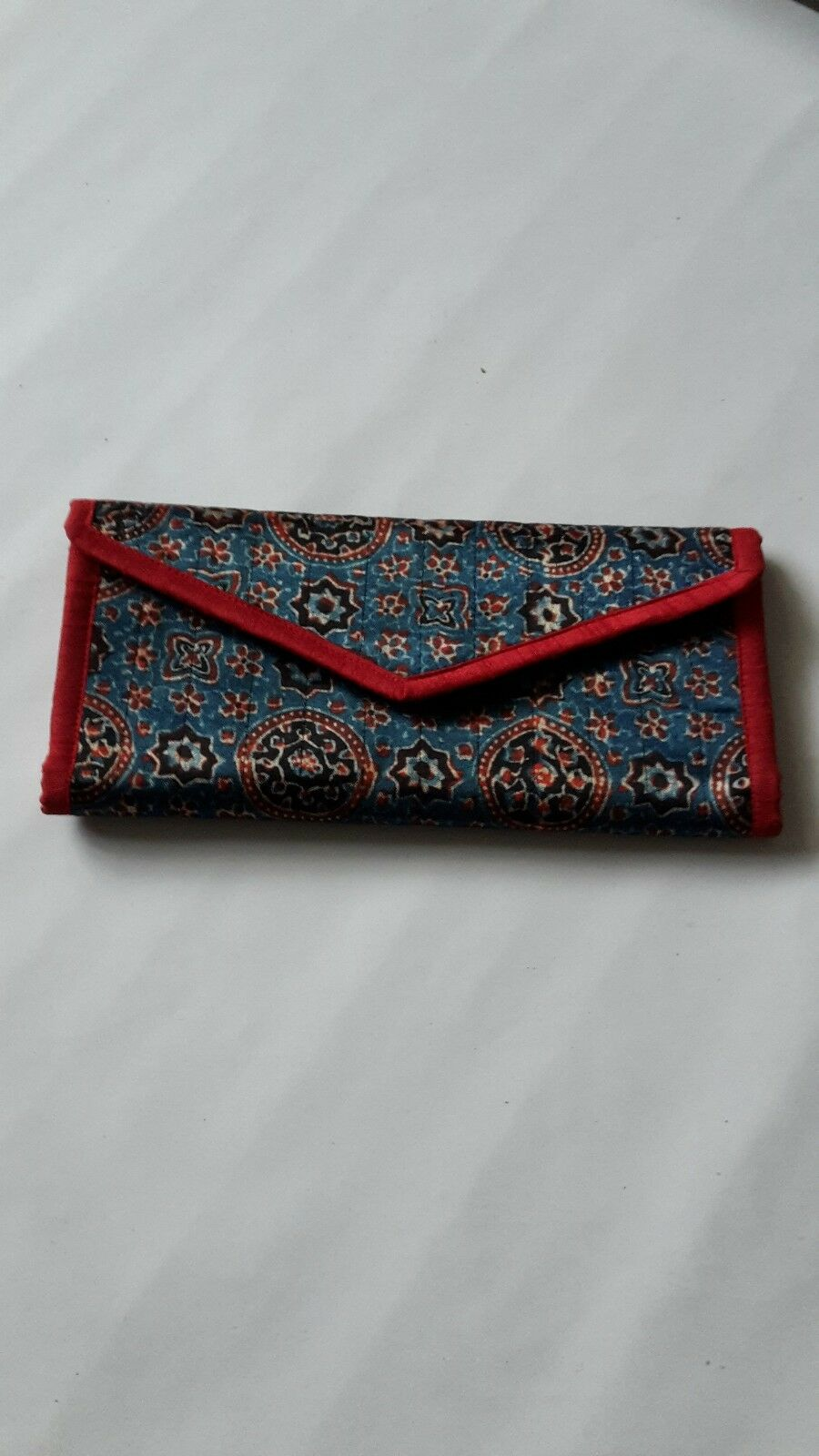 ladies Indian handcrafted multicoloured printed fold envelope purse clutch bag