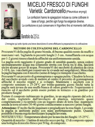 MICELIO FRESCO DI FUNGHI Cardoncello 1 Barattolo da 2,5 Lt