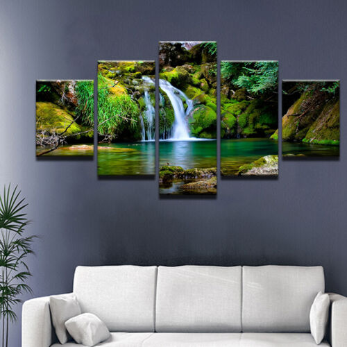 Relax Nature Lake Painting Peaceful Poster Wall Art Home Decor 5pcs Canvas Print