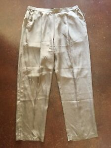 Tommy-Bahama-Womens-Sz-M-Brown-Silk-Pull-On-Pants-Pleated-Front-Pocket-Loose-Fit