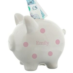 Personalised baby girls piggy bank money box 1st birthday gift image is loading personalised baby girls piggy bank money box 1st negle Images