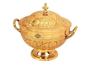 Brass Flower Design Casserole Donga with Lid & Bottom Tableware 1150 ml Gold