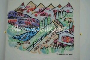 REDUCED-Tax-disc-art-landscape-mountain-collage-unique-UK-excise-duty-velology