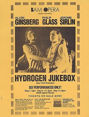 ALLEN GINSBERG PHILIP GLASS HYDROGEN JUKEBOX OPERA 1991 FLYER