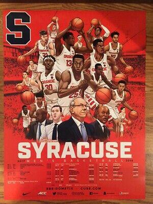 2017 18 Syracuse University Men S Basketball Team Poster Ebay
