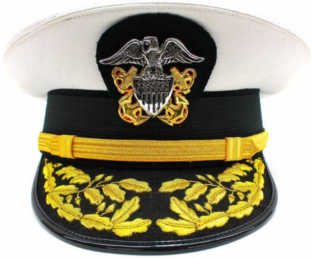 US Navy Commander Admiral Rank White Hat Cap Size 60 R N Commanders