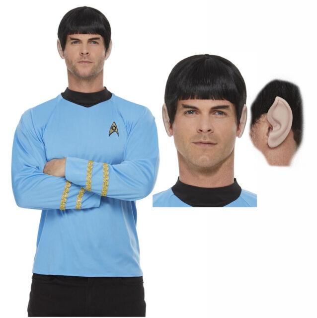 Mens Spock Wig 60s TV Star Space Fancy Dress Costume Black Headpiece NEW
