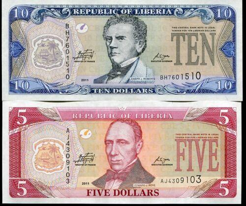 LIBERIA SET 2 PCS 5 10 DOLLARS 2011 P 26 27 UNC