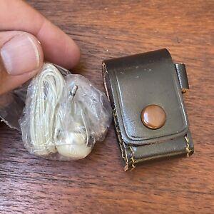 NOS Vintage Transistor Radio Mono Earpiece with Leather Case -Japan Audio Spy