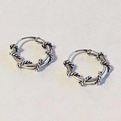 Real 925 Sterling Silver 10mm Bali Earrings Hoops Cartilage Hoop Oxidized Unisex