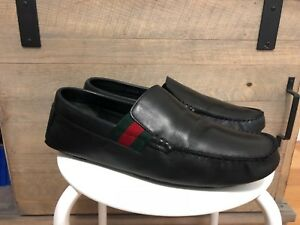 efcf2d95a6c Image is loading Mens-Gucci-Black-Leather-Loafer-Driver-Shoes-Gucci-