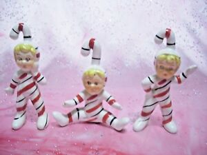 SUPER-RARE-VTG-Japan-Christmas-Candy-Cane-Boy-Elf-Pixie-Figurine-Set
