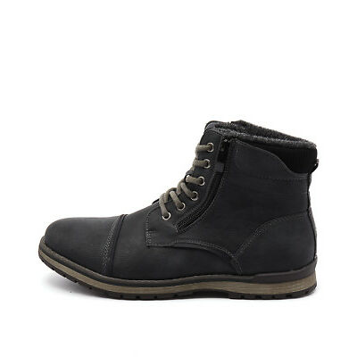 New Uncut Marlboro Black Mens Shoes Casual Boots Ankle