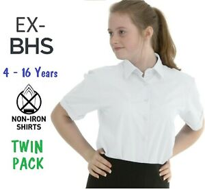Ex-BHS-Girls-School-Blouse-Shirt-Twin-Pack-White-Short-Sleeve-Non-Iron-Ages-4-16