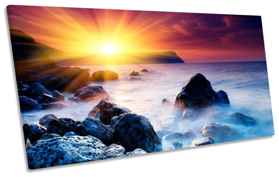 Sunset Seascape Beach  PANORAMIC PANORAMIC PANORAMIC BOX FRAME CANVAS ART Picture 9fc39e