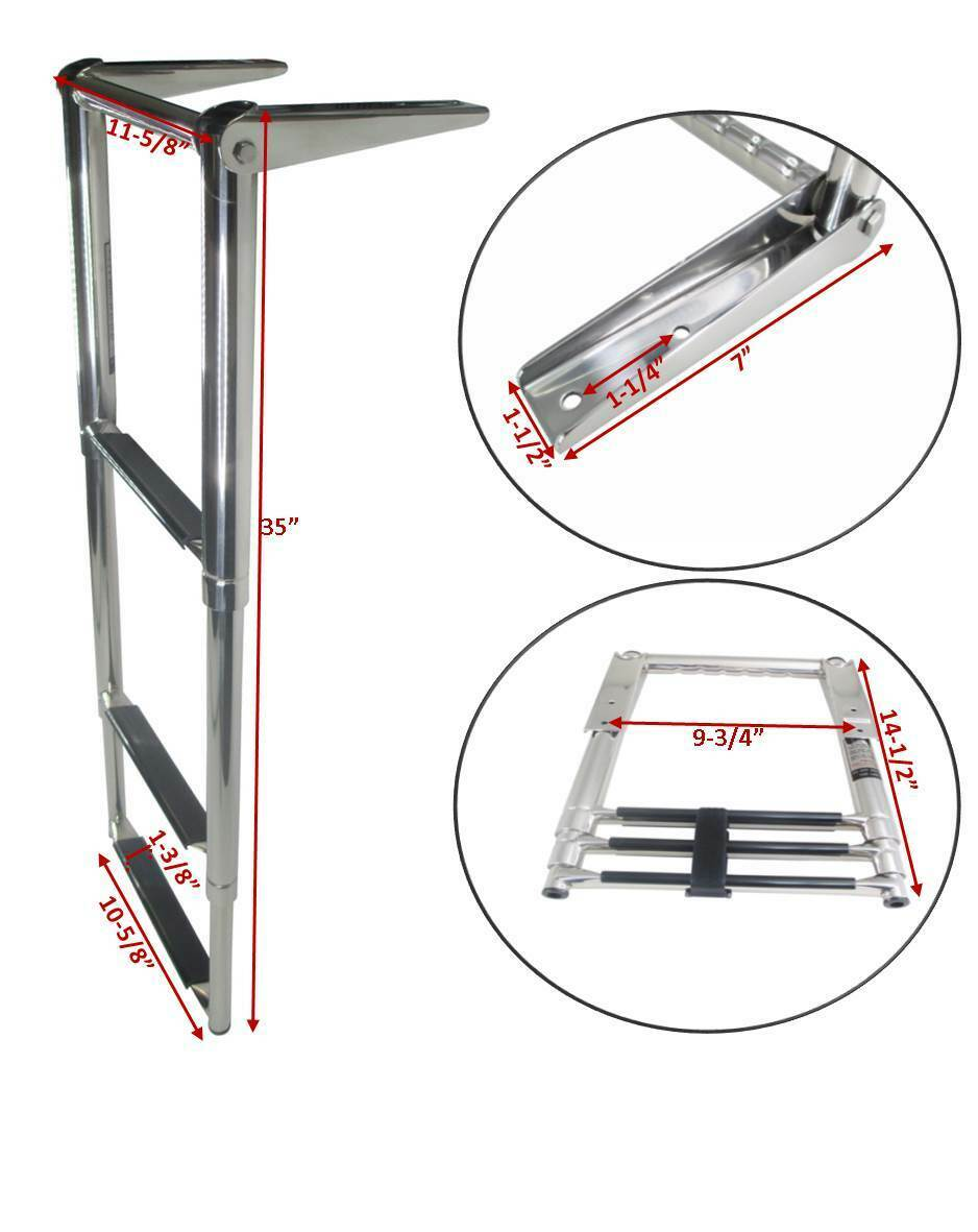 perfk Portable 3-Step Stainless Steel Telescoping Ladder Swim Step for Marine Yacht//Swimming Pool