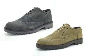 Scarpe-uomo-vera-pelle-francesine-stringate-scarpe-in-camoscio-basse-con-inglesi