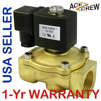 VITON 1 inch 12V DC VDC Brass Solenoid Valve NPT Gas Water Air ONE-YEAR WARRANTY