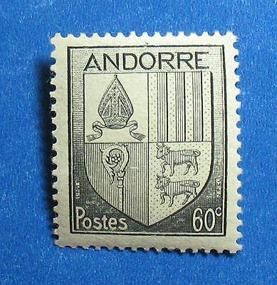 New Fashion 1944 Andorra French 60c Scott# 82 Michel # 99 Unused Nh Cs27452 Andorra