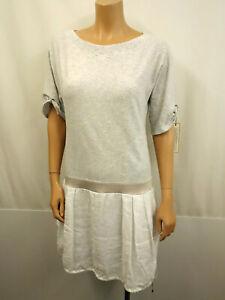 BRUNELLO-CUCINELL-Designer-Shirtkleid-Gr-M-38-Kleid-Dress-1-2-Arm-Grau-Weiss