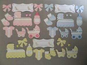 PACK 2 BABY BOY IN PRAM TOPPER EMBELLISHMENTS FOR CARDS//CRAFTS