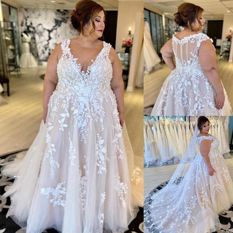 Plus Size Wide Strap Lace Wedding Dresses Lace Applique Sleeveless V-Neck Gown
