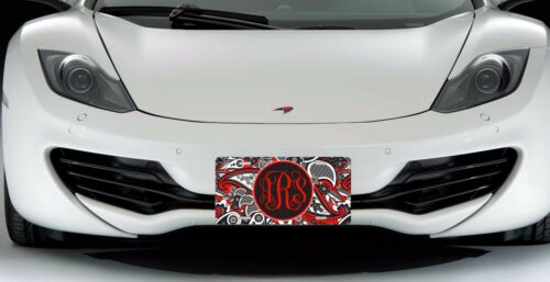 Red Paisley Personalized Monogrammed License Plate Car Tag Initials Custom