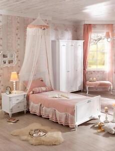 Details zu Kinderzimmer komplett Set Mädchen Weiß Jugendzimmer Komplettset  3-tlg Romantica
