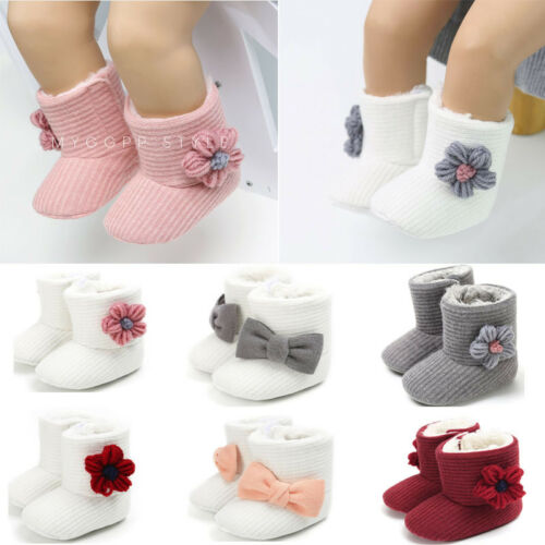Newborn Baby Girls Winter Cotton Diamonds Shoes Toddler First Walkers Shoes New