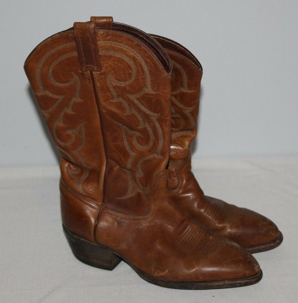 Tony Lama Boots Men 8.5D CZ842 Brown Kid Skin Goat Western Cowboy Rodeo Women 11