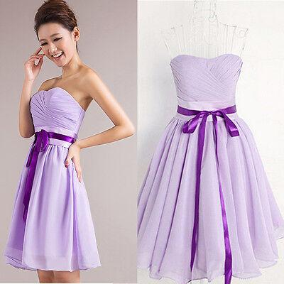 Lilac Chiffon Wedding Bridesmaid Formal Cocktail Evening Party Short Prom Dress