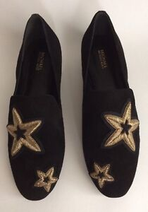 26096eed3a7c Image is loading MICHAEL-KORS-Natasha-Suede-Gold-Star-Applique-Loafers-
