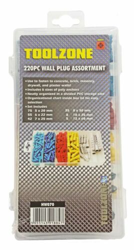 220Pc Wall Plug Assortment Raw Rawl Plugs Rawlplugs Screw Anchor Fixings 6 Sizes