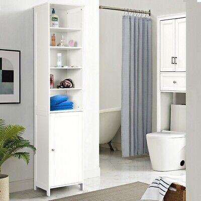 Bathroom Storage Cabinet Free Standing Floor Shelves Linen White