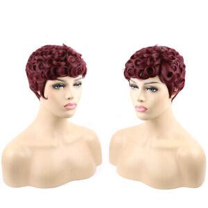 Curly Pixie Cut Brazilian Virign Human Hair Mommy Wig Fashion Wave Womans Wigs