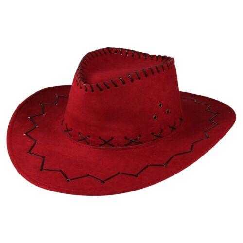 Cowboy CAPPELLO SCERIFFO CARNEVALE maschere MASCHERA Parrucca-Pieghettate Zack PATTERN ROSSO