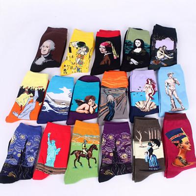 Retro Vintage Unisex Women Men Modern Famous Art Painting Funny Novelty Socks.