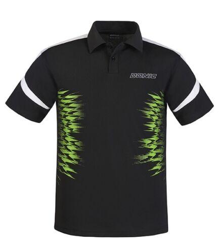 DONIC Polo AIR schwarz  atmungsaktiv Trikot Badminton Tischtennis Polo