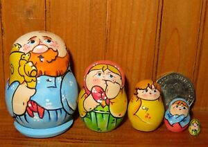Miniature-Matryoshka-Russian-tiny-5-nesting-dolls-Family-amp-Samovar-LATISHEVA-ART