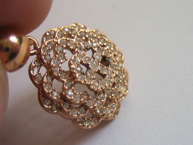 Folli Follie Womens Santorini Flower Earring Rose Gold Stainless Steel Crystals