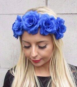 Image is loading Royal-Blue-Rose-Flower-Headband-Festival-Hair-Crown- 99a41061941