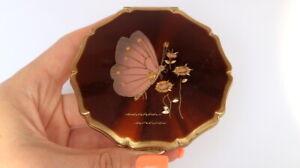 Vintage-Stratton-Vanity-Trinket-Powder-Box-Compact-Gold-Mirror-amp-Enamel-England