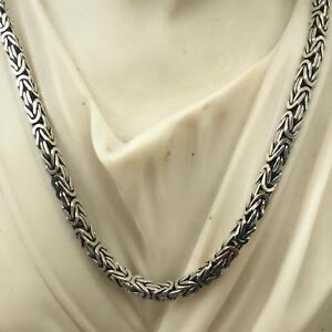 Details about Mens Woven Byzantine Chain Necklace Oxide 925 Sterling Silver  94Gr 20 Inch 6mm