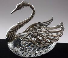 A VERY  LARGE 835 SOLID SILVER SWAN  AND CUT CRYSTAL GLASS TABLE SALT