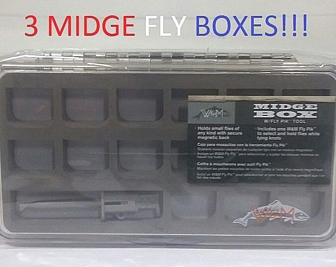 3 Wright & McGill Midge Fly Boxes w  Pik Tool (WMEMFB7) EB060201