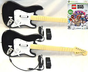 Details about 2 x NEW Wired Fender Stratocaster Guitar & LEGO Rock Band  XBox 360 Game Kit Set