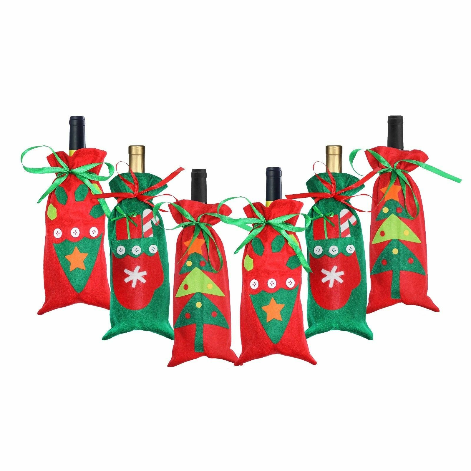 Felt Christmas Christmas Christmas Wine Bottle Bag Holders Table Decoration - rot & Grün 0fab5b