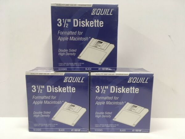 """(30) - Quill 3 1/2"""" Diskettes Apple Macintosh 10 Disks High Density New Sealed"""