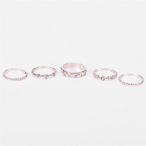 Fashion 5Pcs//Set Crystal Rose Gold Stackable Ring 5 Sparkly Rings Jewelry Set S/&