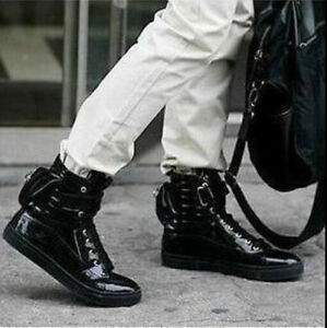 Men 039 s new stylish retro high top sneakers boots lace up zip board